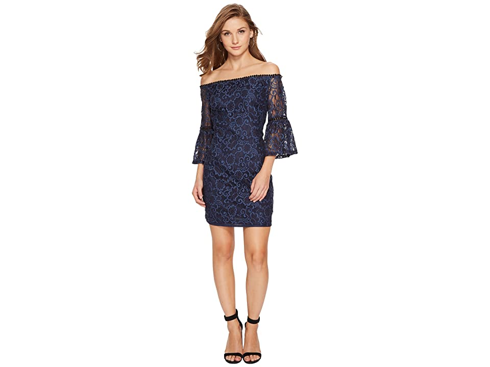 BB Dakota Danlyn Off the Shoulder Lace Dress (Blue) Women