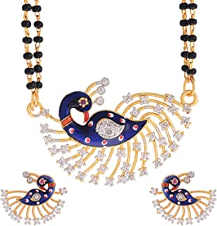 Geode Delight Gold Plated American Diamond Peacock Shape Mangalsutra with Chain & Earrings for Women