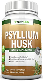 PSYLLIUM Husk Capsules - 1450mg Per Serving - 240 Capsules - Premium Psyllium Fiber Supplement - Great for Constipation, D...