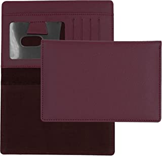 Burgundy Textured Leather Checkbook Cover for Top Stub Personal Checks