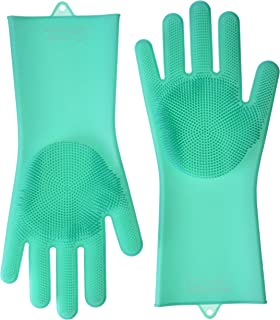 Green Matter Magic Silicone Gloves with Wash Scrubber, 1 Pair of Cleaning Gloves for Dishwashing, Pet Bathing, Bathroom & Car Cleaning, Reusable & Heat Resistant Dishwashing Gloves (Green)