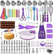 BoYun Cake Decorating Supplies Kit, Set of 216, Baking Pastry Tools, Cake Turntable, Cake Leveler, Numbered Icing Tips wit...