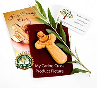 Olive Wood Holding Cross Comes with Velvet Bag & Certificate