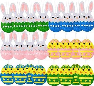 Iceyyyy 24Pcs Easter Egg Bunny Felt Ornaments - Hanging Easter Egg Felt Ornaments Set - Colorful Felt Eggs Easter Tree Dec...