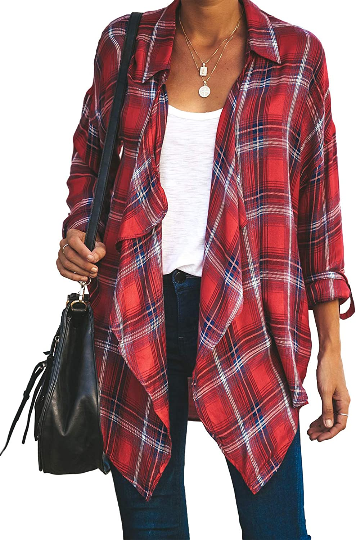 ROSKIKI Womens Plaid Printed Irregular Open Front Cardigan Waterfall Blouse Tunic