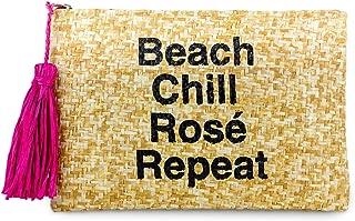 Funky Junque Womens Saying Beach Clutch Straw Travel Mini Zipper Handbag Pouch