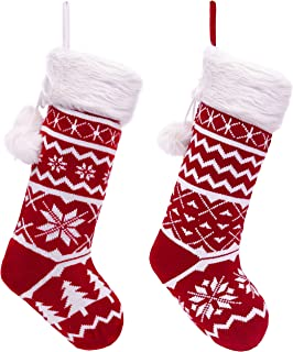 Valery Madelyn 21 inch Traditional Red White Knitted Christmas Stockings Set of 2 with Snowflakes, Christmas Tree and Faux Fur Cuff Design, Themed with Christmas Tree Skirt (Not Included)