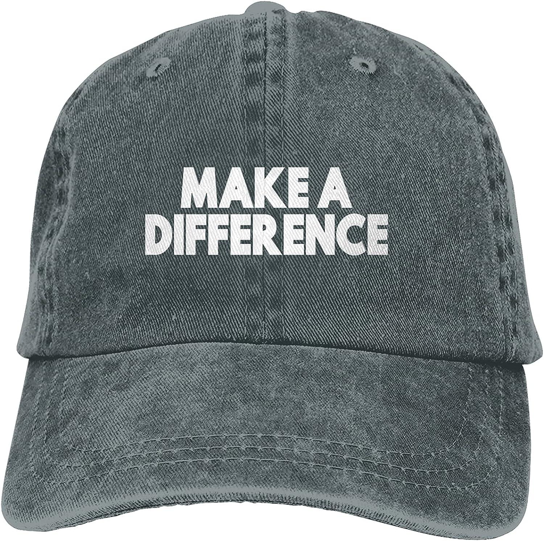 Make A Difference Vintage Unisex Baseball Cap Dad Hat Adjustable Sports Cowboy Cap Denim Cap-DeepHeather
