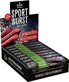 Grillido Sportwurst Rind & Kräuter 25er Pack | Die Beef Jerky Alternative ohne Zucker | 40% Eiweiß und nur 2,9g Fett pro Wurst