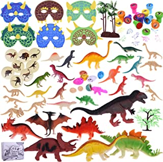 88Pcs Kids Dinosaur Toy Kit Including Assorted Mini Figures, Stamps, Masks, Dinosaur Eggs, Sticker Tattoos and More for Dinosaur Party Supplies