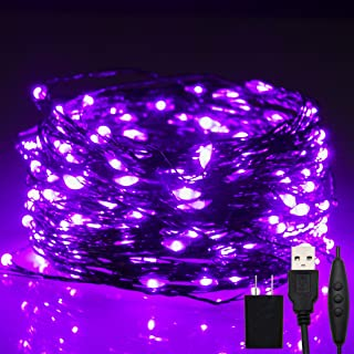 Twinkle Star 200 LED 66ft Halloween Fairy String Lights USB & Adapter Powered, Dimmable Control Starry Black Wire Lights H...