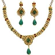 Indian Bollywood Traditional Studded Look Rhinestone Pretty Wedding Designer Jewelry Necklace Set...