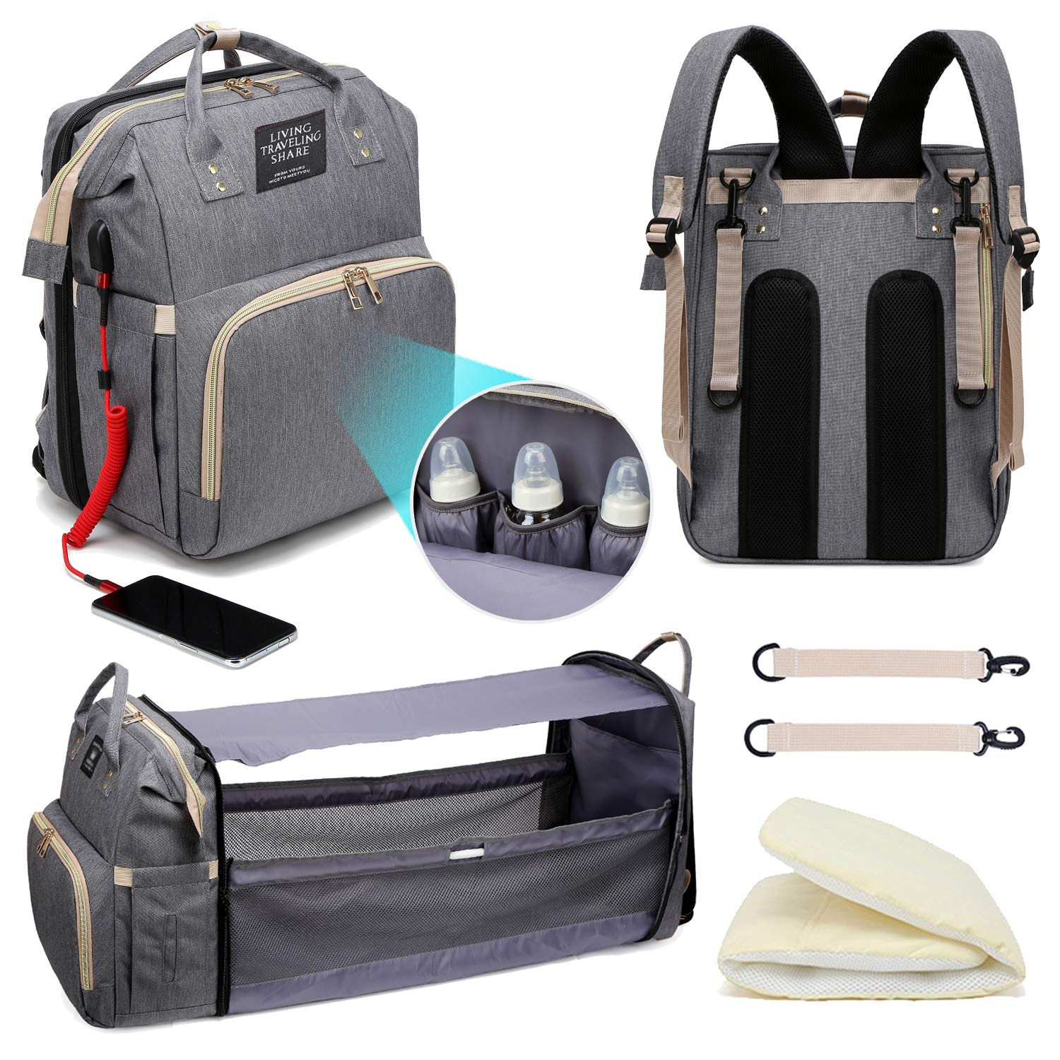Diaper Bag Backpack with Changing Station,Travel Mommy Bag, Baby Travel Bed, Water Resistant Diaper Bag Backpack with USB Charging Port,Foldable Crib,Portable Baby Travel Bag (Grey)