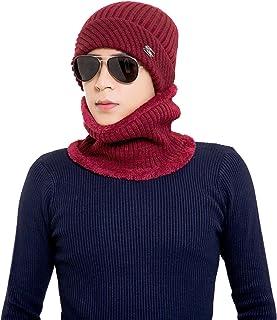 Runtlly Winter Beanie Hat Scarf Set Fleece Lining Warm Knit Hat Thick Knit Skull Cap