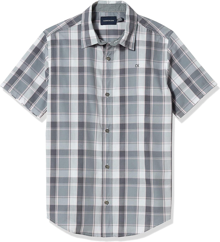 Calvin Klein Boys' Short Sleeve Button Up Woven Shirt