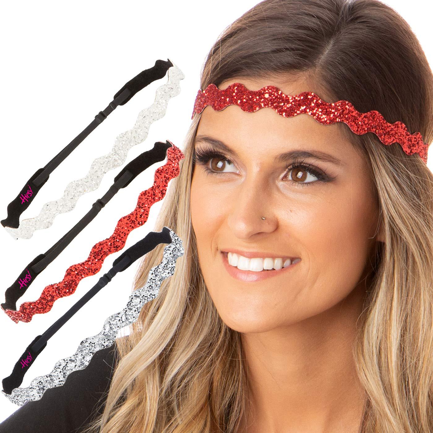 Hipsy Women's Adjustable No Slip Cute Fashion Hearts & Bling Glitter Valentine's Day Hair Headband Multi Packs (Valentine's Silver/Red/White Wave Bling Glitter 3pk)