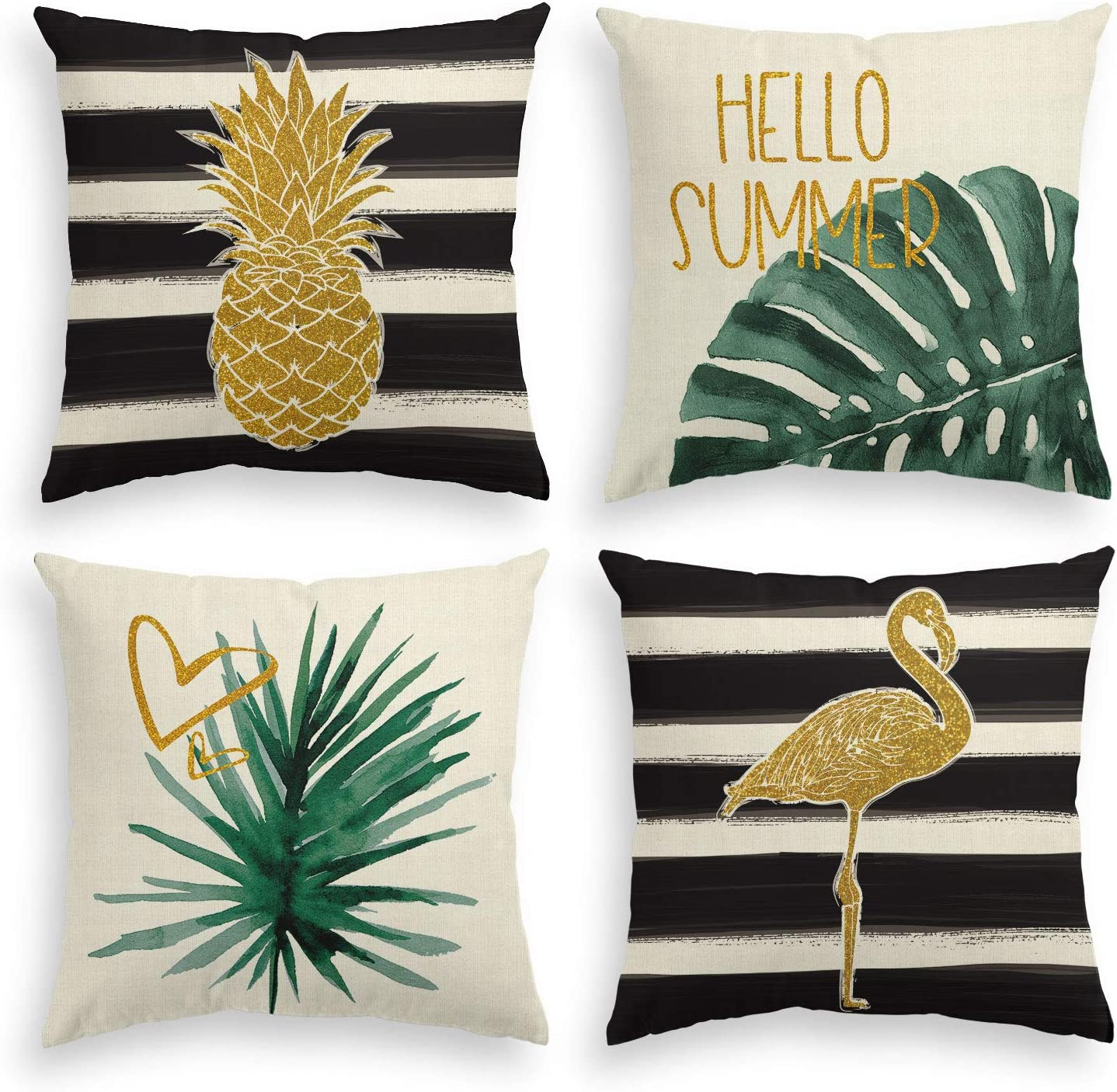AVOIN colorlife Watercolor Stripes Tropical Plants Throw Pillow Cover, 18 x 18 Inch Pineapple Flamingo Monstera Cushion Case for Sofa Couch Set of 4