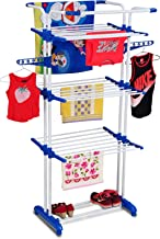 PARASNATH Stainless Steel 3-Pole Clothes Drying Rack with 3 Layers (Multicolour, DGR444GFBG)