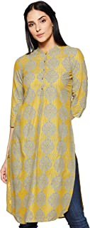 W Women's Rayon Straight Kurta