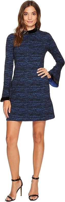 Arielle Sheath Dress w/ Velvet Neckline and Cuff