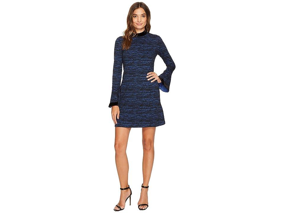 Donna Morgan Arielle Sheath Dress w/ Velvet Neckline and Cuff (Uniform Navy) Women
