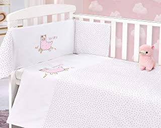 Baby Nursery Cot 2 Piece 100/% Cotton Quilt and Bumper Bedding Set Owl
