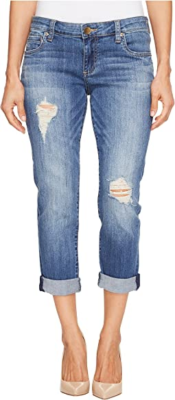 KUT from the Kloth - Petite Catherine Boyfriend Five-Pocket Jeans in Fiery/Medium Base Wash