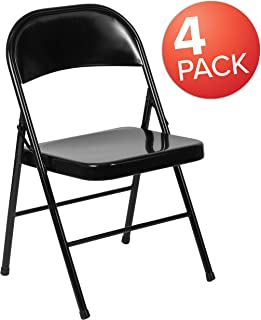 Flash Furniture 4 Pk. HERCULES Series Double Braced Black Metal Folding Chair -