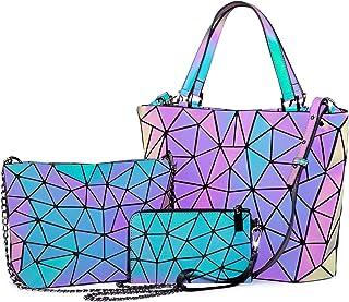 Geometric Luminous Purses and Handbags for Women Holographic Reflactive Crossbody Bag Wallet
