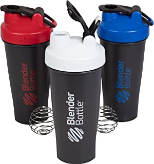 BlenderBottle 28 Ounce - Red, White and Blue 3 Pack with Loop and Blenderball