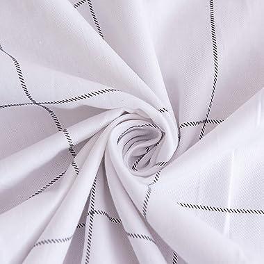 JELLYMONI 100% Natural Cotton Plaid Standard Pillowcases Set, 2 Pack White with Black Grid Geometric Pattern Printed Pillow C