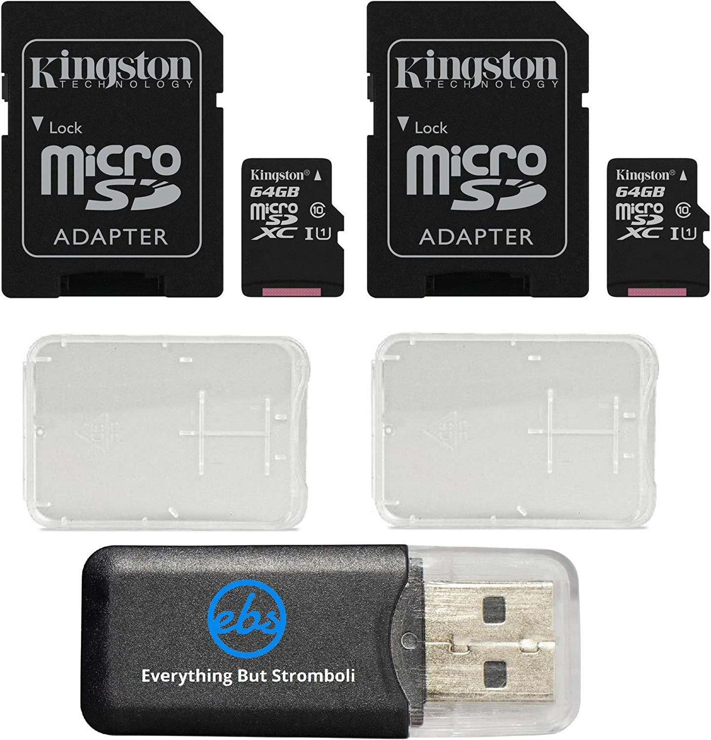 Kingston Canvas Select (2 Pack Bundle) microSD Class 10 Memory Card UHS-I 80MB/s R Flash with Adapter SDCS/64GB and (2) Plastic Jewel Cases and (1) Everything But Stromboli (TM) Card Reader