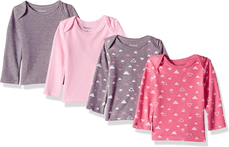 Hanes Girls Ultimate Baby Flexy 4 Pack Long Sleeve Crew Tees