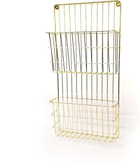 Two Tier Wall File Holder – Gold Finished Durable Metal Rack with Spacious Slots for Easy Organization, Mounts on Wall and Door for Office, Home, and Work – by Designstyles