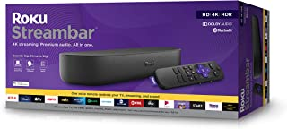 Roku Streambar 4K/HD/HDR Streaming Media Player & Premium Audio, All In One, Includes Roku Voice Remote, Released 2020