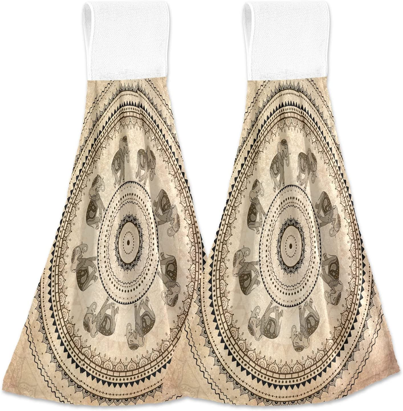 Oarencol Vintage Mandala Elephant Flower 35% OFF Towel Max 53% OFF Kitchen Boho Hand