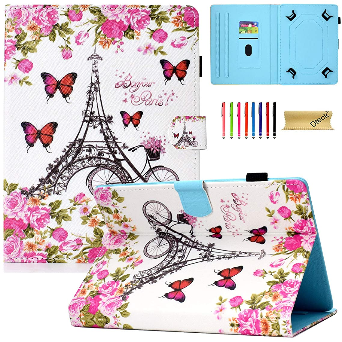 Dteck 6.5-7 Inch Universal Case with [Stylus Pen], Pretty Cute Flip Stand Case PU Leather Protective Pocket Holder Cover for Samsung/Kindle/Huawei/Lenovo/Nook 7.0 Inch Tablet-Flower Tower