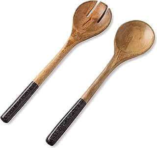 Salad Servers or Salad Tongs, Wooden Utensils for Serving Salad, 12-inch Spoon and Fork Set, Mango Wood, Black Servers
