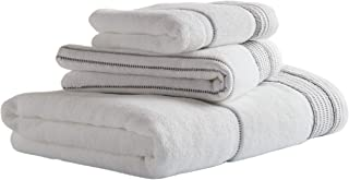 Stone & Beam Casual Striped Cotton Bath Towels, Set of 3, Charcoal