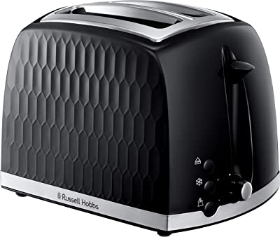 Russell Hobbs 26061 2 Slice Toaster - Contemporary Honeycomb Design with Extra Wide Slots and High Lift Feature, Black