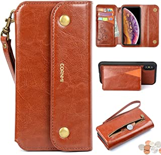 CORNMI iPhone X / XS Wallet Case, Zipper Pocket 8 Card Holders Wrist Strap kickstand Detachable Purse Leather Folio Flip Protective Cover for iPhone X / XS 5.8'' Brown