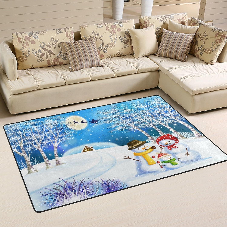 WOZO Christmas Family Snowman Tree Snow Reindeer Moon Area Rug Rugs Non-Slip Floor Mat Doormats Living Room Bedroom 60 x 39 inches
