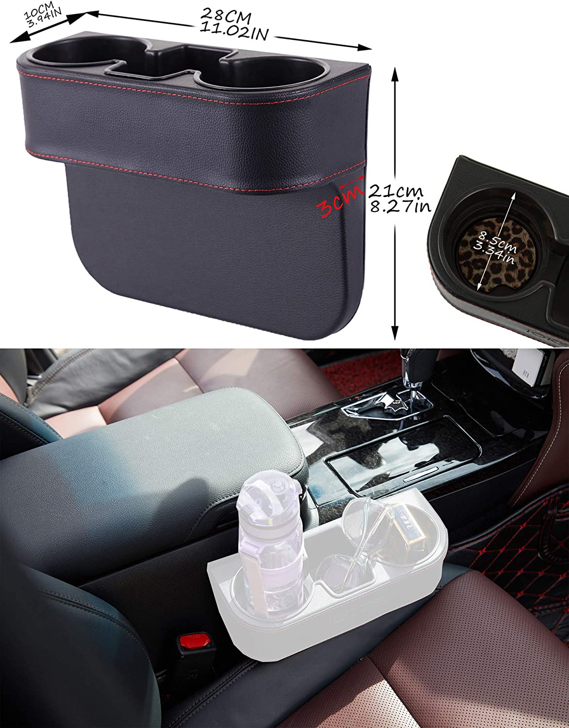 IOKSCTER Multifunctional Car Seat Organizer with PU Leather,Front Between Seat Gap Filler,Seat Cup Cell Phone Drinks Holder Glove Box Car Interior Organizer Trunk SUV Black