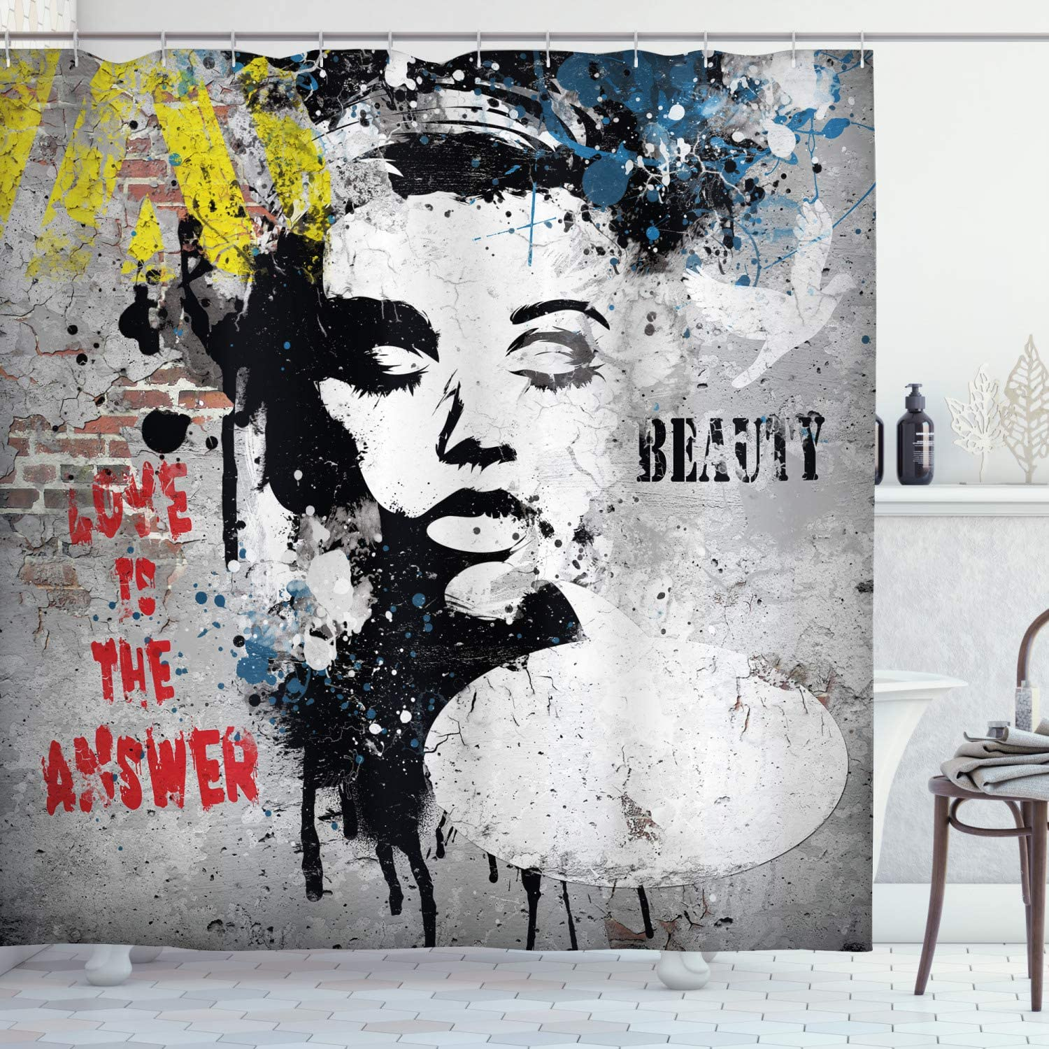 sale Ambesonne Graffiti Shower Curtain Modern Bombing new work and with Wall a Grunge