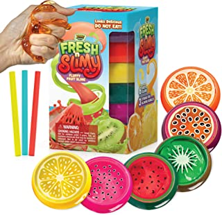 YoYa Toys Fresh 'N Slimy Fluffy Fruit Slime 6-Pack - Kiwi, Lemon, Orange, Watermelon, Dragon Fruit and Passion Fruit Sludge Slimes with 3 Straws to Make Bubbles - Great for Kids and Adults