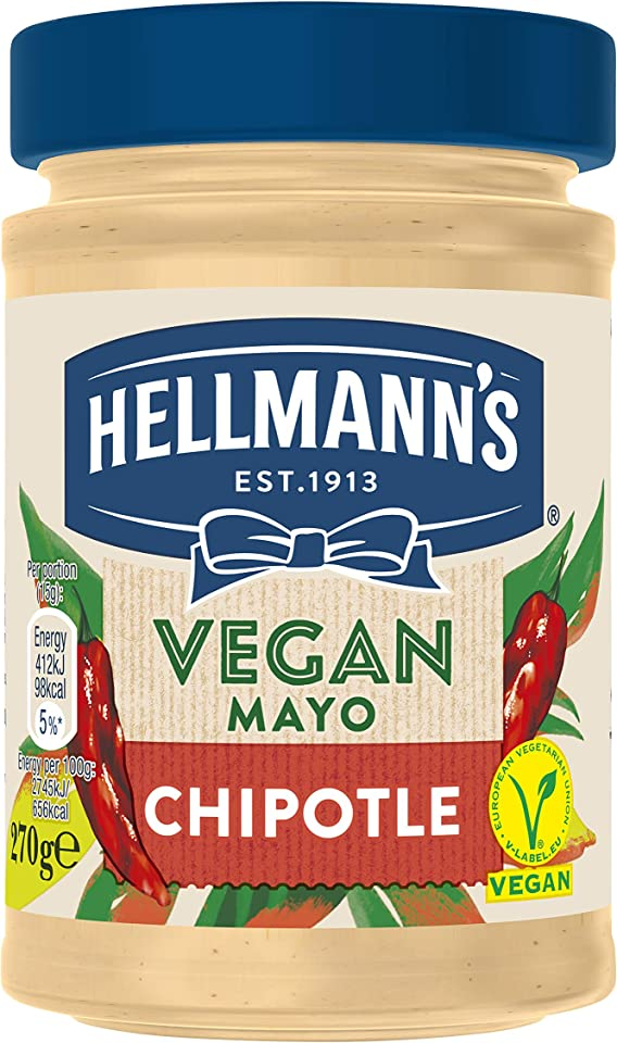 Hellmann's Vegan Chipotle Mayo 100 Percent Plant Based Condiment for Sandwiches, Wraps and Salads 270g