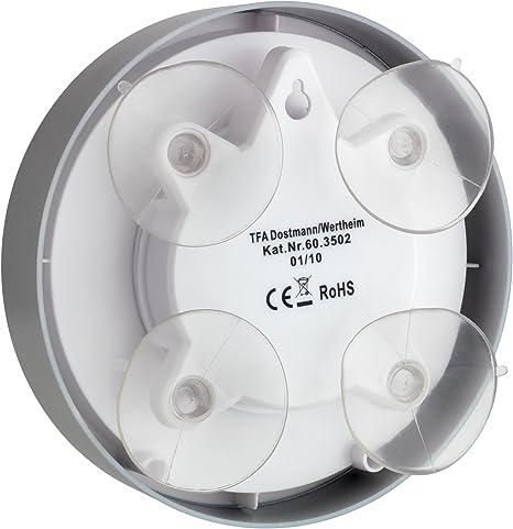 TFA Reloj de Pared con ventosas para baño y Cocina de 165 mm