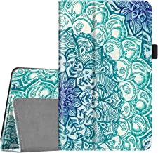 Fintie Folio Case for All-New Amazon Fire 7 Tablet (9th Generation, 2019 Release) - Slim Fit PU Leather Standing Protective Cover with Auto Wake/Sleep, Emerald Illusions