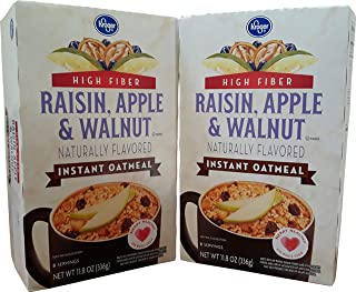 Kroger Instant Oatmeal Naturally Flavored Source of 7 Vitamins & Minerals Pantry Pack 10 Servings 63% Whole Grain (Raisin, Apple & Walnut) (2 Pk)