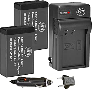 BM Premium 2-Pack of LP-E17 Batteries and Battery Charger for Canon EOS M6 Mark II, SL2, SL3, EOS RP, EOS M3, EOS M5, EOS M6, EOS Rebel T6i, T6s, T7i, EOS 77D, EOS 750D, EOS 760D, EOS 8000D Cameras